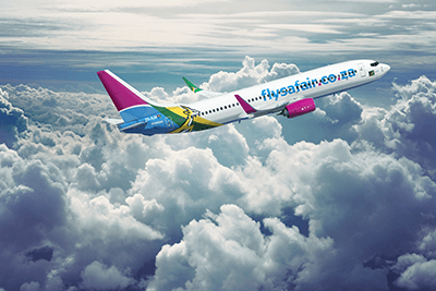 One of FlySafair's Bok Planes in midair