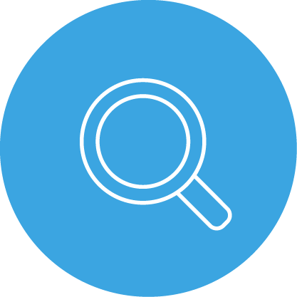 a round blue icon with a white and blue search icon on it