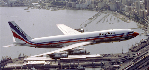 Safair Boeing 707 over Durban Harbour