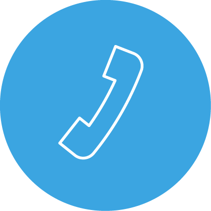 round blue icon with a white telephone sign on it