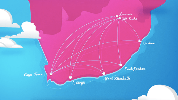 an image of the South African map in pink detailing the routes we fly to with a blue background with white clouds
