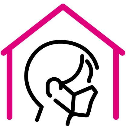 House with a person waring a mask inside outline