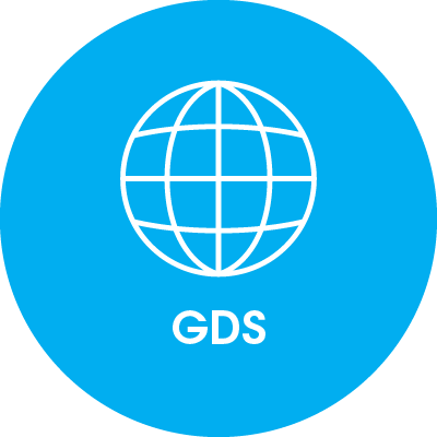 round blue icon with world globe on and gds writing on it