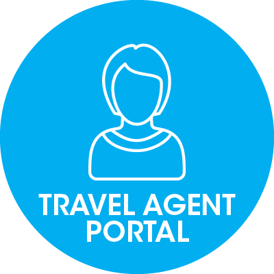 round blue icon with a female torso and travel agent portal writing on it