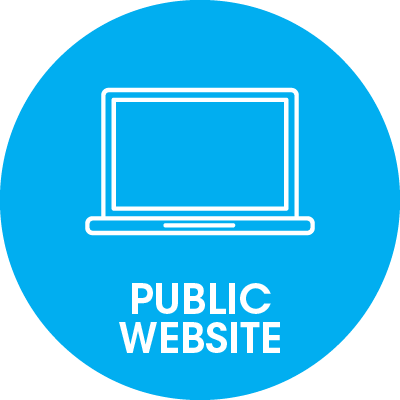 round blue icon with a pc and public website writing on it